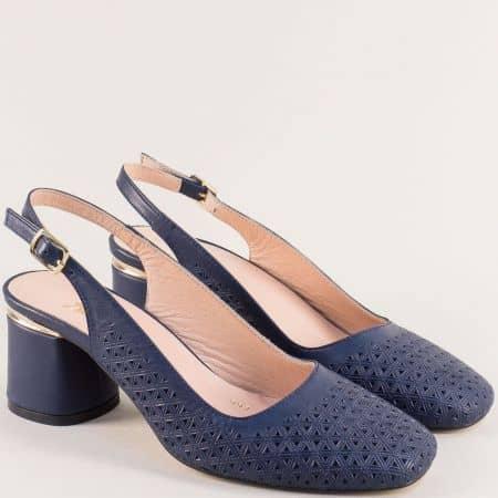 Сини дамски обувки с отворена пета на среден ток f997s
