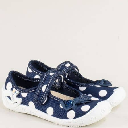 Сини детски пантофи на бели точки с лепка- MONETA fortuna3