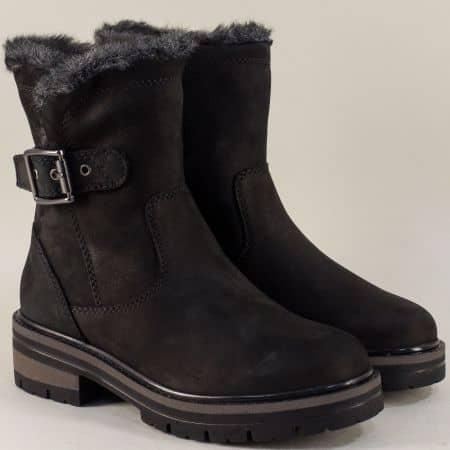 Топли дамски боти от естествен материал в черно g129nch