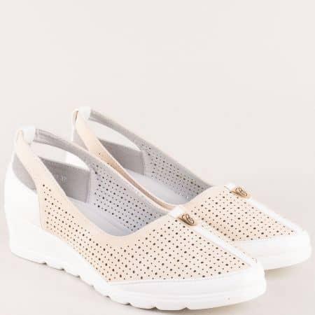 Перфорирани дамски обувки в бежово и бяло g144bj