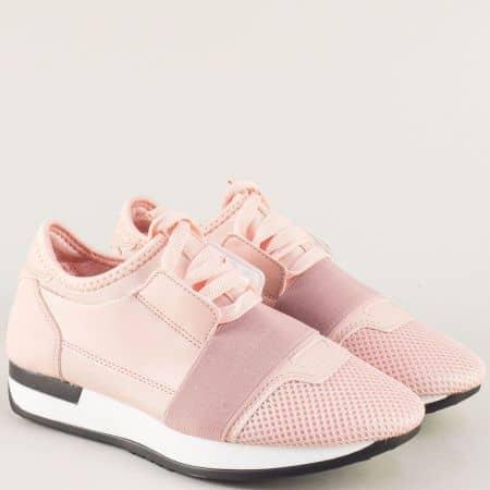 Дамски маратонки с връзки и ластик в розов цвят gf200rz