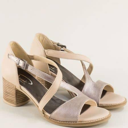 Дамски сандали от естествена кожа в бежов цвят на среден ток gi201bj