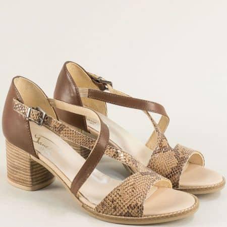 Кафяви дамски сандали със змийски принт от естествена кожа gi201k