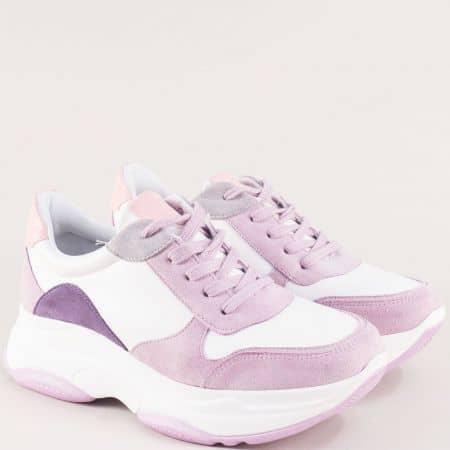 Дамски спортни обувки в свежа комбинация-бял, лилав и розов цвят n942bl