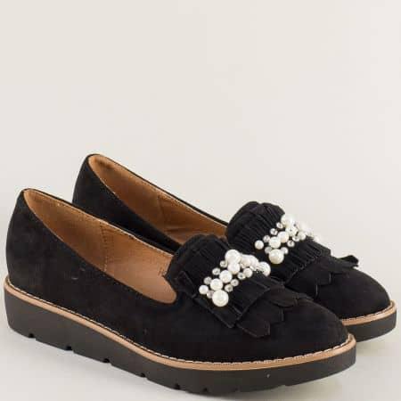 Дамски обувки в черен цвят с перли и камъчета hbs01vch