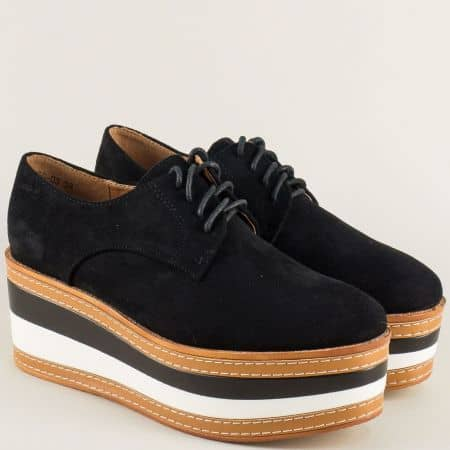 Дамски обувки с връзки на платформа в черен цвят hbs03vch