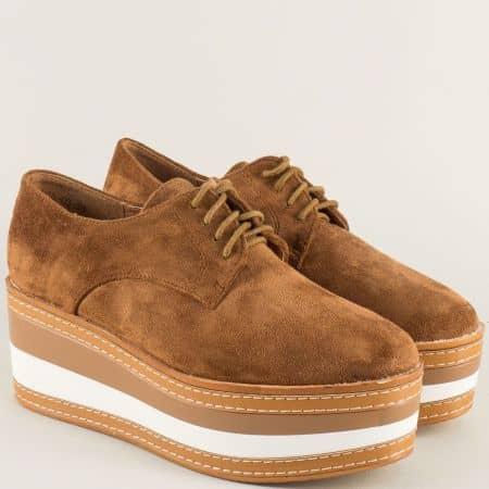 Кафяви дамски обувки с връзки на ефектна платформа hbs03vk