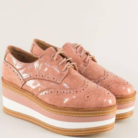 Розови дамски обувки с връзки и швейцарски мотив hbs04lrz