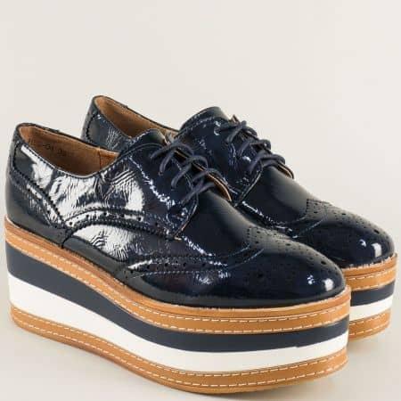 Тъмно сини дамски обувки с декоративен перфо мотив hbs04ls