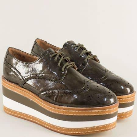 Зелени дамски обувки на платформа в стил Оксфорд hbs04lz