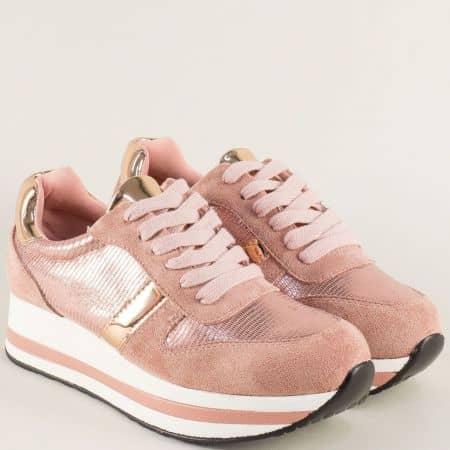 Розови дамски маратонки с връзки на стабилна платформа hbs05rz