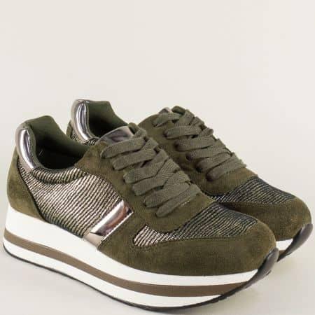 Спортни дамски обувки в зелен цвят на платформа hbs05z
