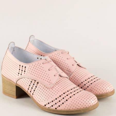 Розови дамски обувки от естествена кожа с перфорация irma1136rz