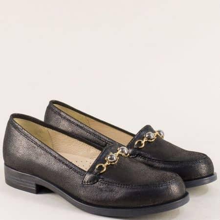 Стилни дамски обувки от естествена кожа в черен цвят j91ch