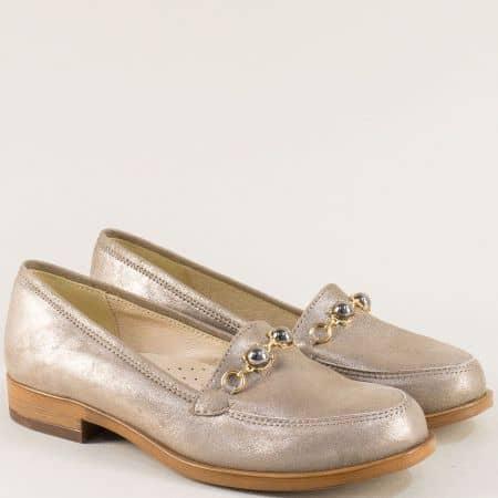 Златисти елегантни дамски обувки от естествена кожа j91tzl