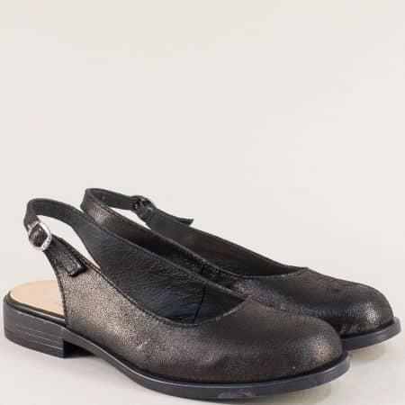 Кожени дамски обувки в черен цвят с отворена пета  j92ch
