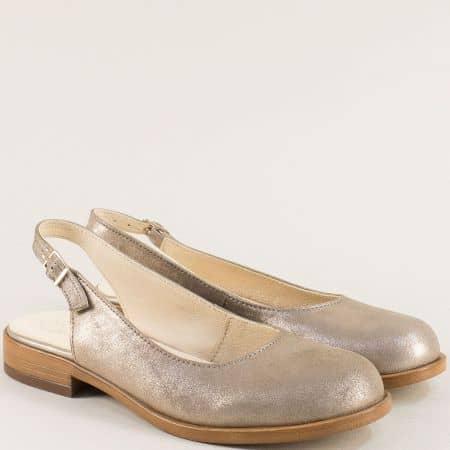 Златни дамски обувки с отворена пета на нисък ток j92tzl