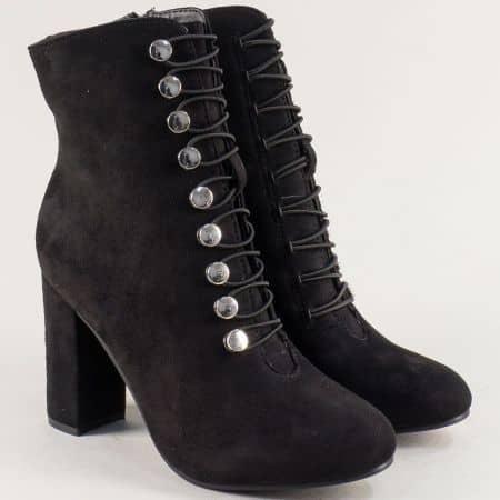 Дамски боти в черен цвят на висок ток с цип и ластик jev1nch