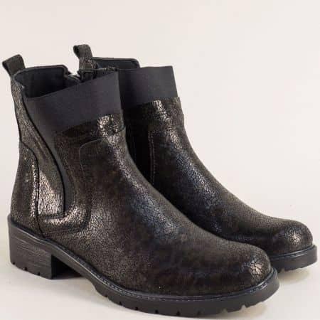 Дамски боти на нисък ток в черен цвят от естествена кожа joe09ch