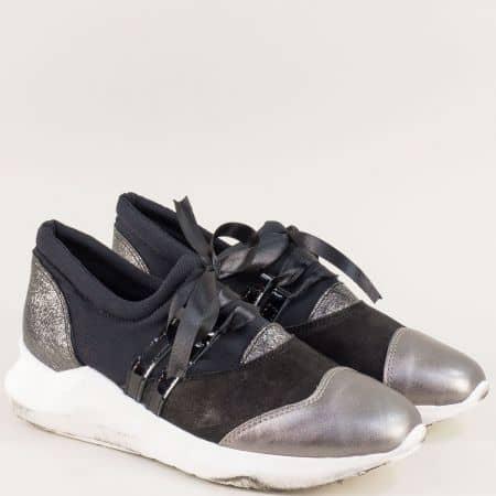 Български дамски обувки от естествена кожа в черен цвят jp1ch