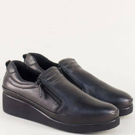 Кожени дамски обувки на клин ходило в черен цвят k020ch