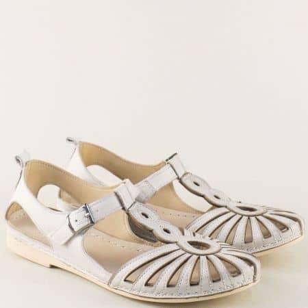 Дамски сандали в сив цвят със затворени пръсти и пета  k1117sv