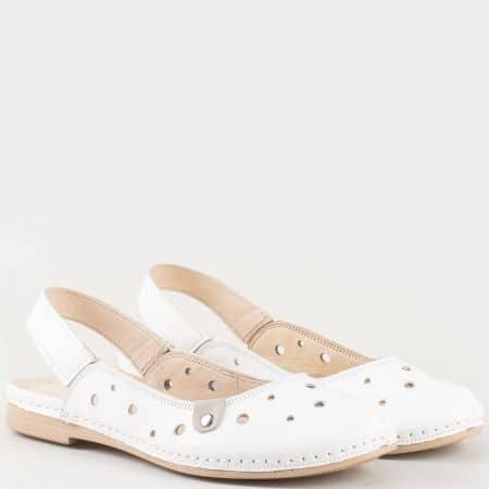 Дамски сандали за всеки ден произведени от изцяло естествена кожа на удобно ходило в бяло k1135b