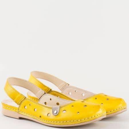 Дамски ежедневни сандали на комфортно ходило произведени от изцяло естествена кожа в жълт цвят k1135j
