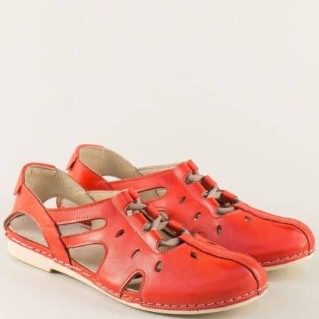 Червени дамски сандали с прорези и ластични връзки k1138chv