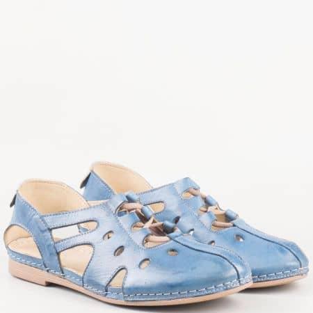 Равни дамски сандали на шито ходило в син цвят k1138s