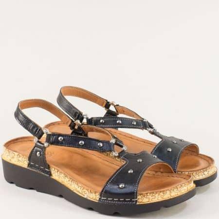Черни дамски сандали на ортопедично ходило от естествена кожа k1243ch