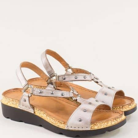 Дамски сандали от естествена кожа в сив цвят- Karyoka k1243sv