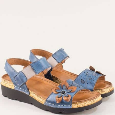 Сини ортопедични дамски сандали на марка Karyoka k1246s