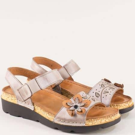 Сиви дамски сандали на ортопедично ходило от естествена кожа  k1246sv