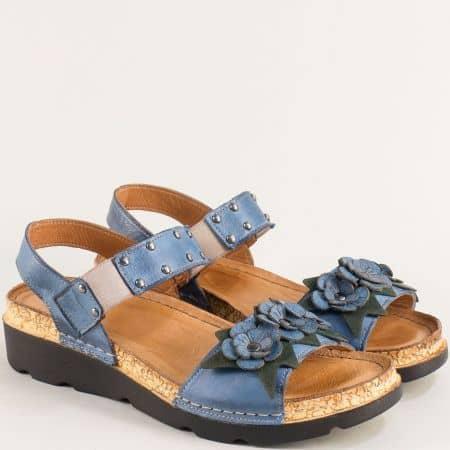 Сини дамски сандали с кожена стелка на платформа  k1258s