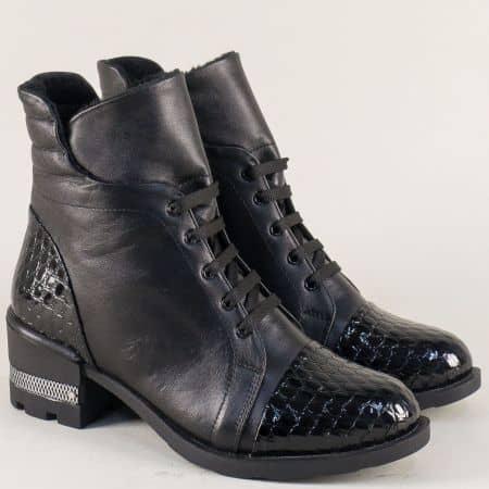 Черни дамски боти от естествен кроко лак и кожа  k174ch