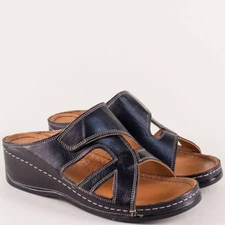 Дамски чехли с лепка от естествена кожа в черен цвят k178ch