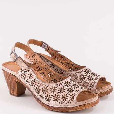 Розови дамски сандали с перфорация на висок ток k1877rz