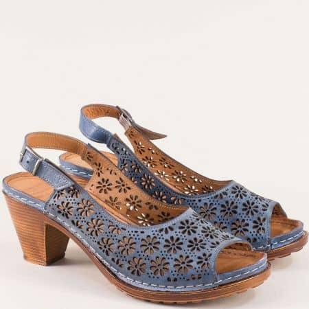 Дамски ежедневни сандали изработени от изцяло естествена кожа с перфорация в син цвят k1877s