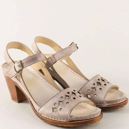Бежови дамски сандали на висок ток от естествена кожа k1878bj