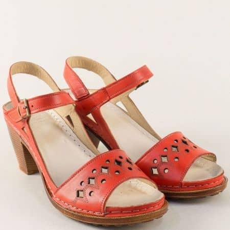 Червени дамски сандали на платформа и висок ток k1878chv