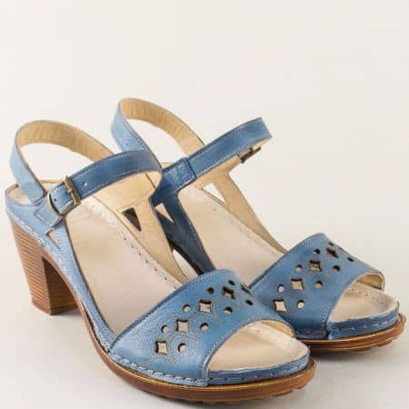 Анатомични дамски сандали в син цвят с кожена стелка k1878s