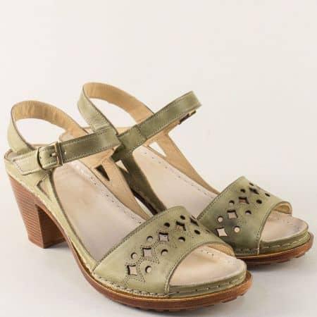 Кожени дамски сандали в зелен цвят на шито ходило k1878z