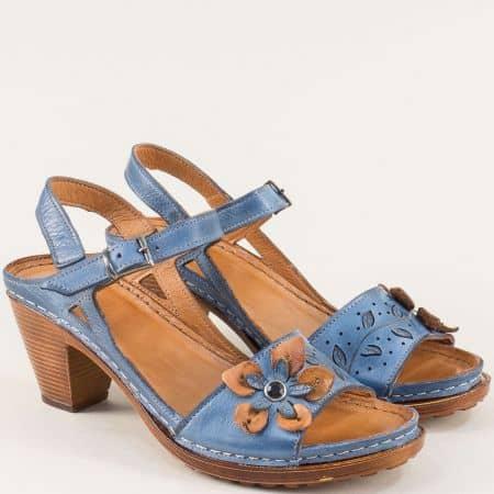Сини дамски сандали от естествена кожа на шито ходило k1892s