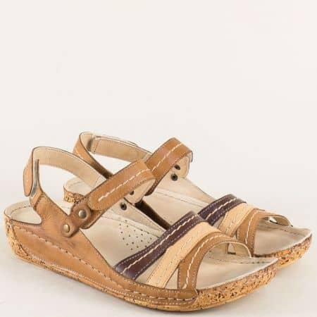 Кожени дамски сандали с две лепки в кафявата гама k2023bjk