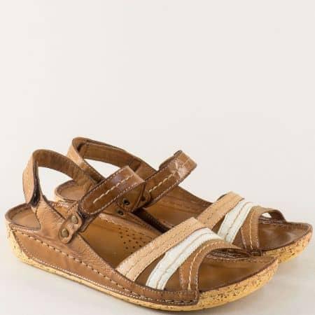 Анатомични дамски сандали в бяло, бежово и кафяво k2023kps