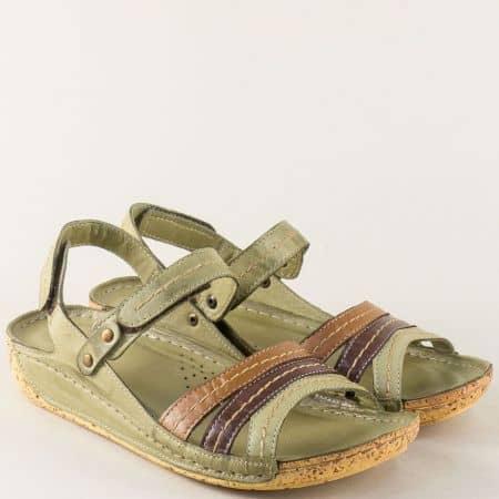 Зелени ортопедични дамски сандали от естествена кожа k2023zps