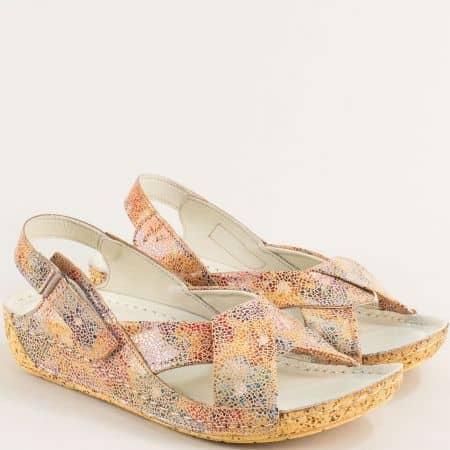 Бежови дамски сандали с пъстър принт с кожена стелка k2024bjps
