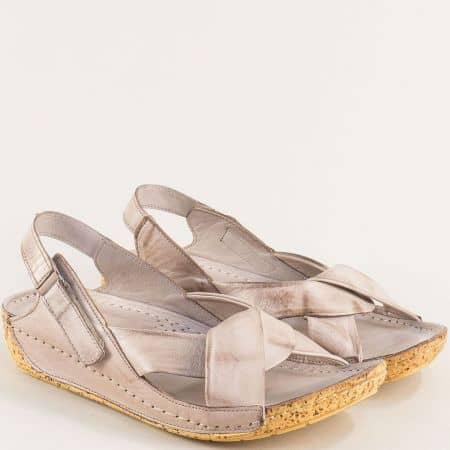 Сиви дамски сандали от естествена кожа на шито ходило k2024sv