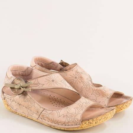 Розови дамски сандали от естествена кожа- KARYOKA k2029rz